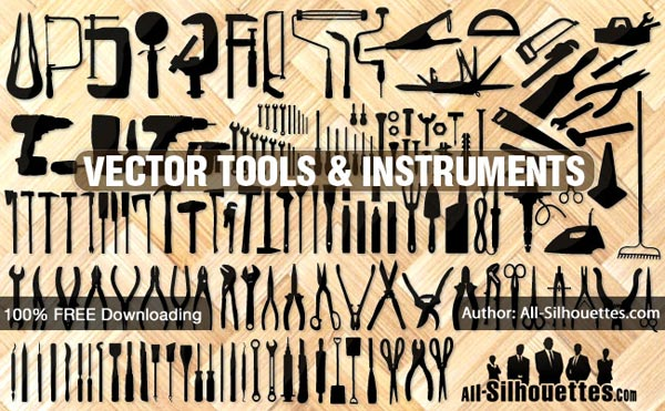 Tools, Instruments, Equipment Silhouettes Free Vector