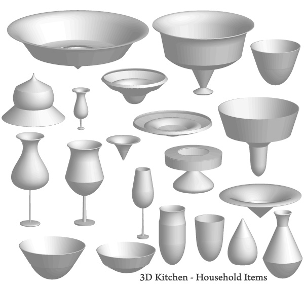 Kitchen Objects Drawing Free 3d Kitchen Items Vector