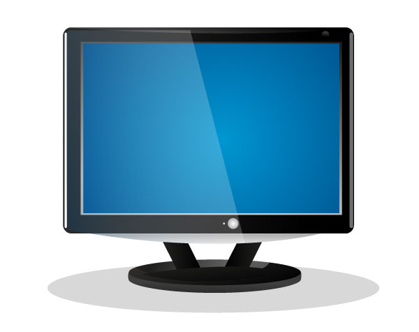 Vector Flat Screen LCD Television Illustration