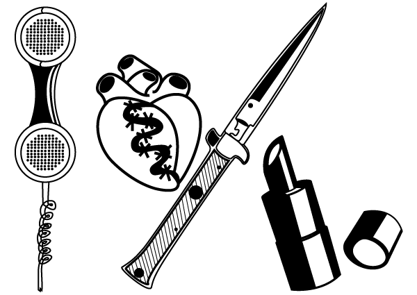 Knife, Telephone Receiver, Lipstick Vector