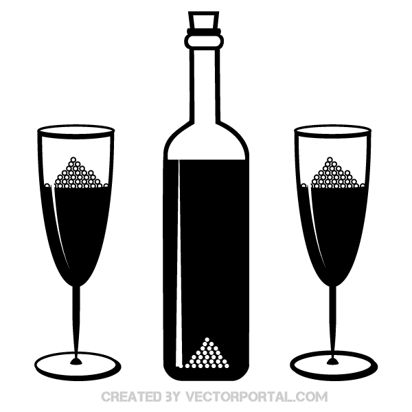 Vector Champagne Bottle and Glasses