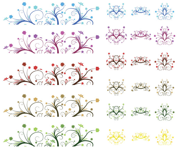Vectorcurly Leaf Ornaments