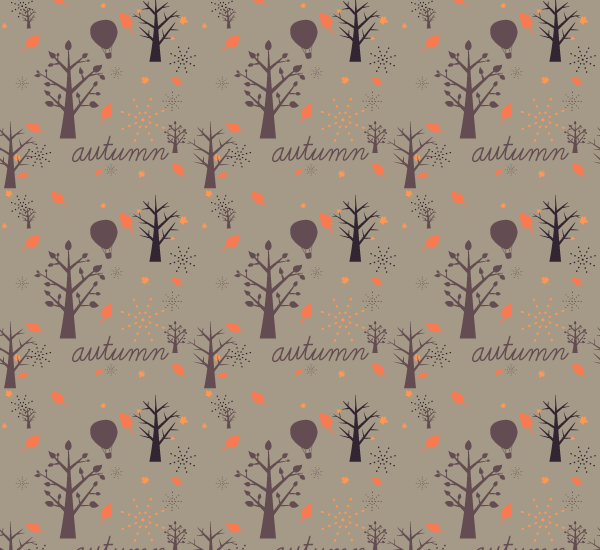 Autumn Tree Seamless Vector Pattern