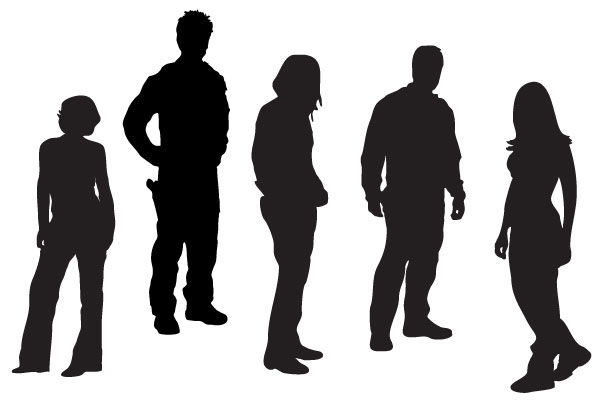 Traveling People Silhouettes Vector Art Graphics: Guess How Do I Look!