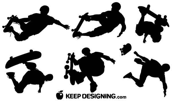 Skateboard Vector Silhouettes | Download Free Vector Art | Free ...