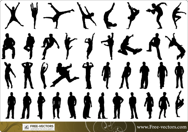 vector silhouette of people - photo #28