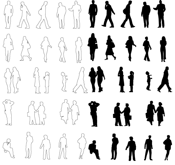 People Silhouettes Vector Free Pack