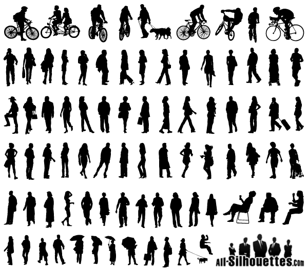 Character Design From The Ground Up Pdf Free Download : Vector silhouettes of people standing sitting walking