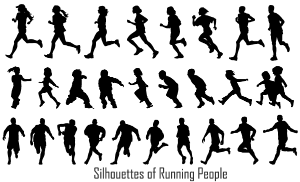 Running People Silhouettes Vectors Free Download