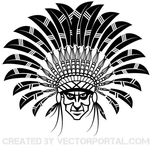 Indian Chief Wearing a Headdress Vector Image