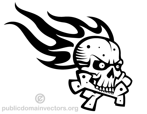 Vector Skull with Flame