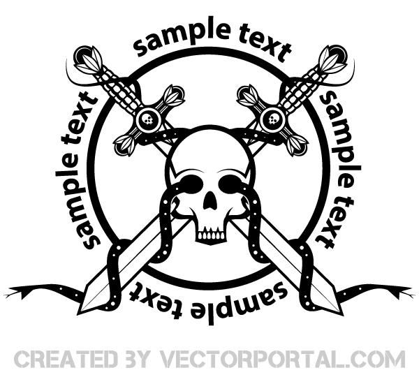 Crossed Sword with Skull Badge Vector Image