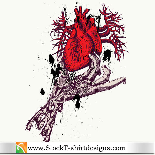 Skeleton hand holding anatomical red heart with free tee for T shirt design vector free