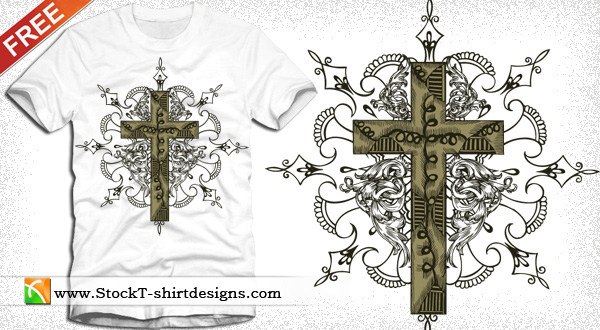 Free Vector Cross Tshirt Design With Floral Ornament