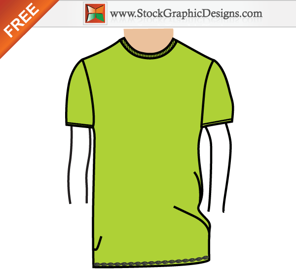 Men's Basic T-shirt Template Free Vector Illustration