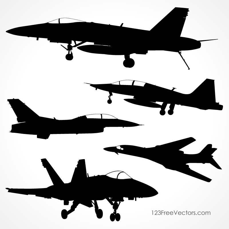 Fighter Plane Silhouettes Vector