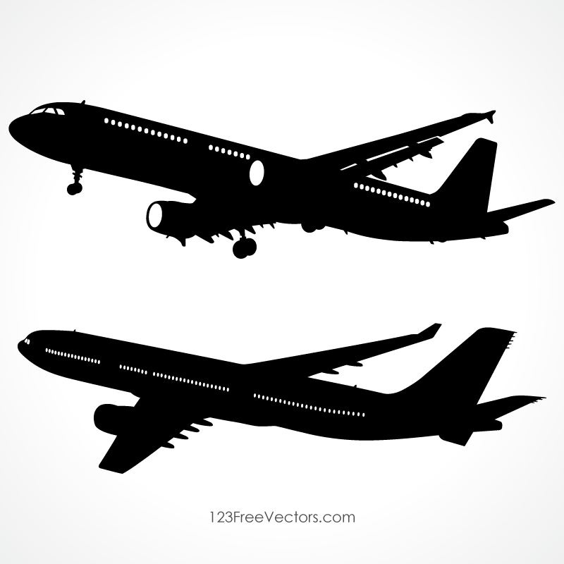 Detailed Airplane Silhouette Vector Images Download Free