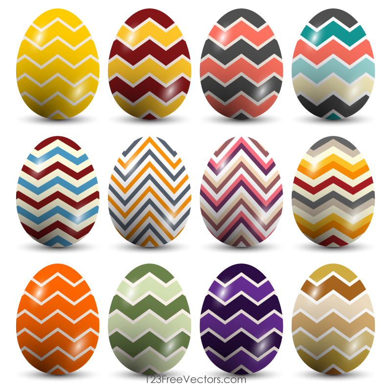 Colorful Easter Eggs with Zigzag Pattern
