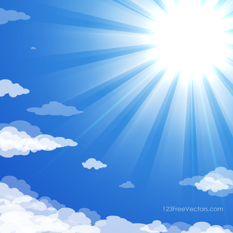 Blue Sky with Clouds Sun Rays Background Image