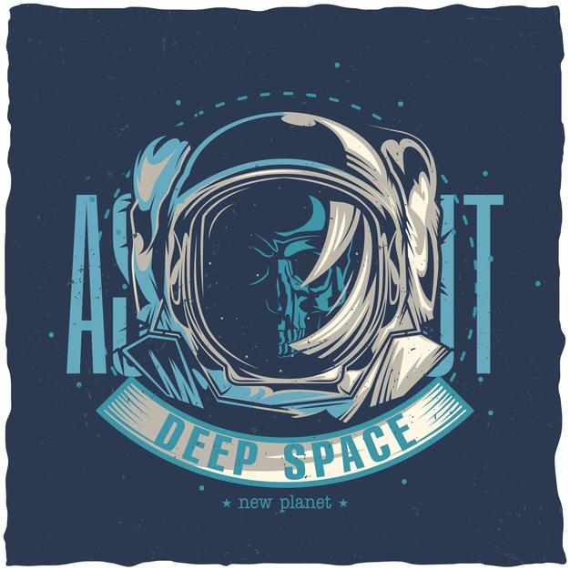 Space theme design with illustration of dead astronaut Free Vector